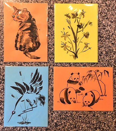 Set of 4 Cards - Chinese Ink