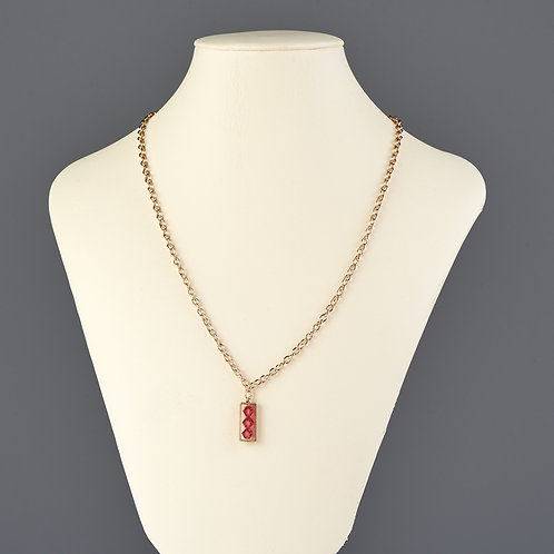 Gold and Fuchsia Crystal Pendant Necklace