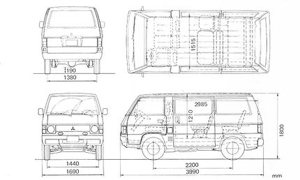 Mitsubishi L300 Kleinbus Maße