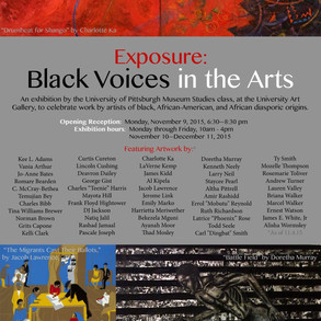 """""""Space"""" included in """"Exposure: Black Voices in the Arts"""" in the Frick Fine Arts Building at the University of Pittsburgh 11/9 - 12/10.  http://www.nextpittsburgh.com/events/exposure-black-voices-in-the-arts-on-view-at-university-of-pittsburgh/"""