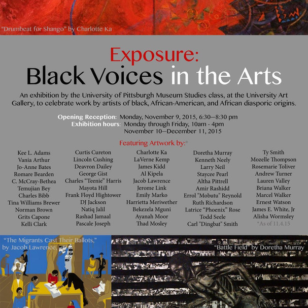 """Space"" included in ""Exposure: Black Voices in the Arts"" in the Frick Fine Arts Building at the University of Pittsburgh 11/9 - 12/10. ​ http://www.nextpittsburgh.com/events/exposure-black-voices-in-the-arts-on-view-at-university-of-pittsburgh/"