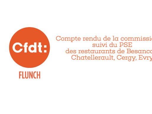 Compte rendu de la commission de suivi du PSE des restaurants de Besançon, Châtellerault, Cergy, Evr
