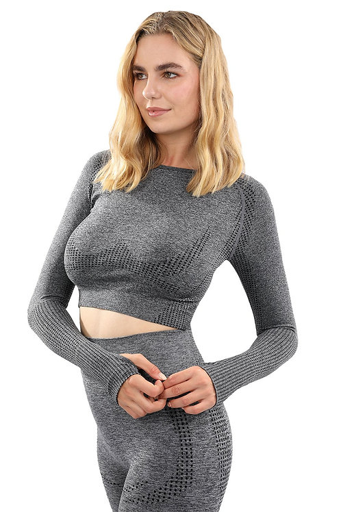 Seamless Sports Top in Charcoal