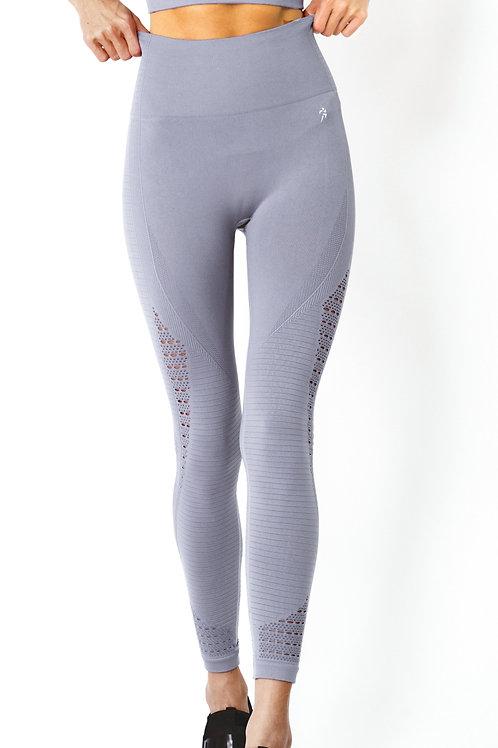 Mesh Seamless Legging with Ribbing Detail in Grey Purple