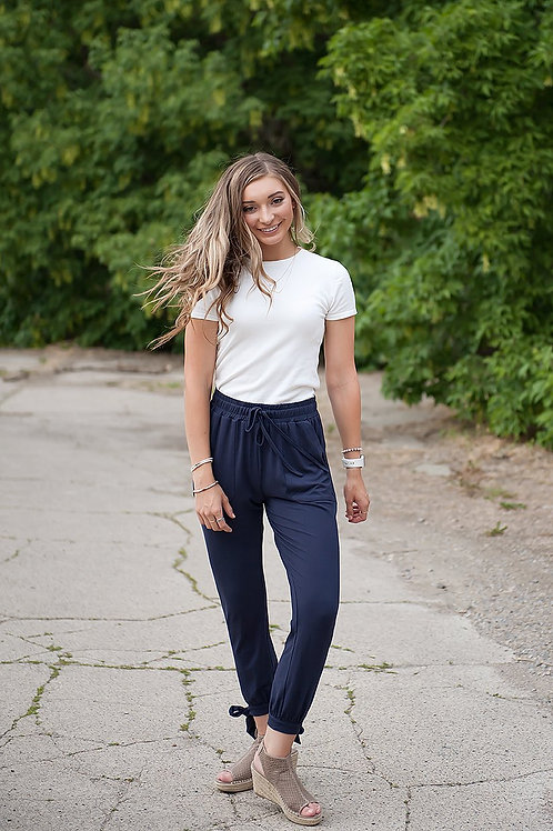 DT Shelby Tie-ankle super-soft pants in Navy
