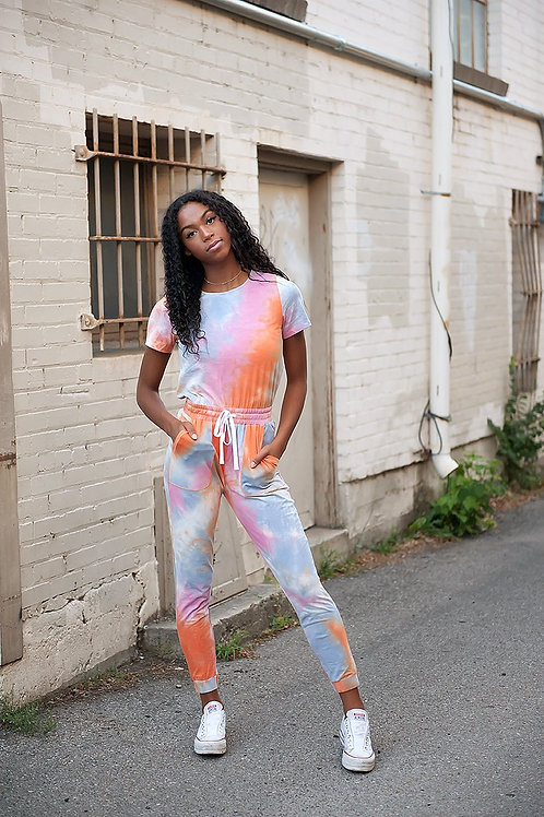 Tie Dye Jumpsuit in Pastel Dream