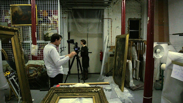 Cat Auburn and collaborator Dan Slaughter filming the Laing Art Gallery collection in Newcastle upon Tyne. (making-of) 'Preparing the Ground' (2017).
