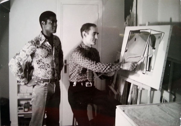 Douglas and partner Patrick in their top floor studio, Rue St Martin, Paris,1972