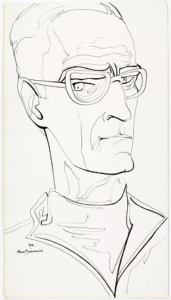 Douglas MacDiarmid, Selfportrait, 1982. Pen and ink drawing on paper