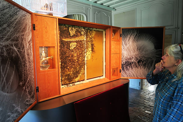 Photographer Anne Noble with her beehive cabinet. Photo: Pauline Autet