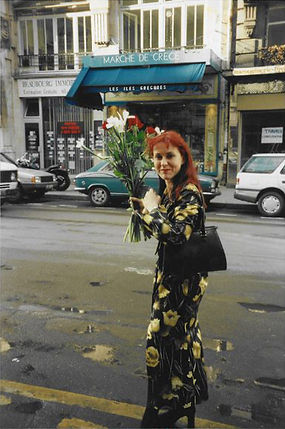 Jennifer Flay on the rue de Bretagne, Paris, near her rue Debelleyme gallery in the 1990's
