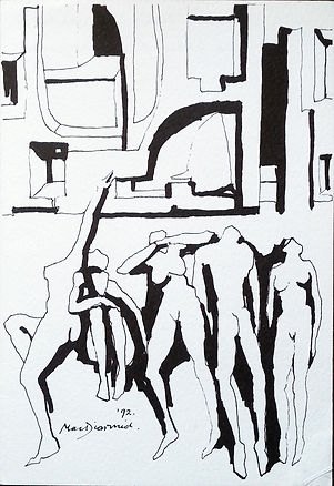 Douglas MacDiarmid, Megapolis, 1992. Pen and Ink drawing on paper