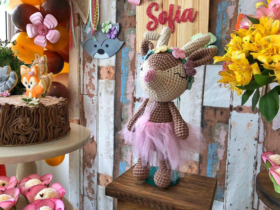 decoração festa bosque cervo de crochê