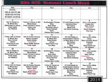 Summer Lunch Menu