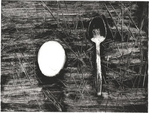 Anna Calleja, Egg and Spoon, monotype on paper, 2020.jpg