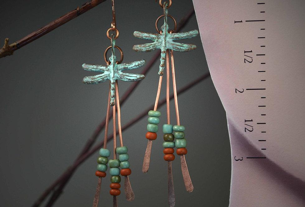 Hook Earrings .. Mykonos Dragonflies Greenies