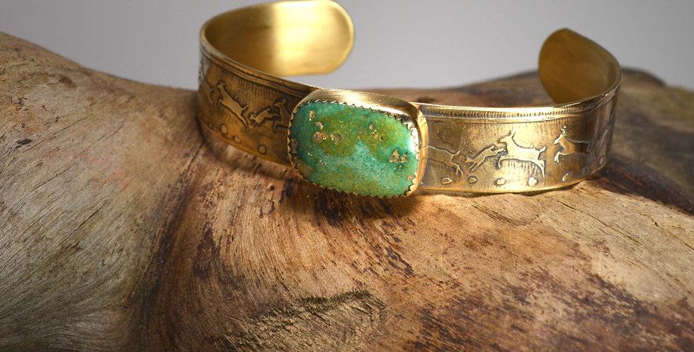 Cuff Bracelet .. Ancient People, Running Deer