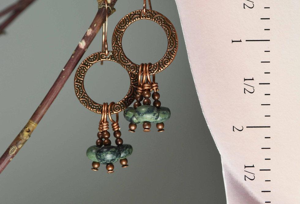 hook earrings .. Copper Hoops Kambaba