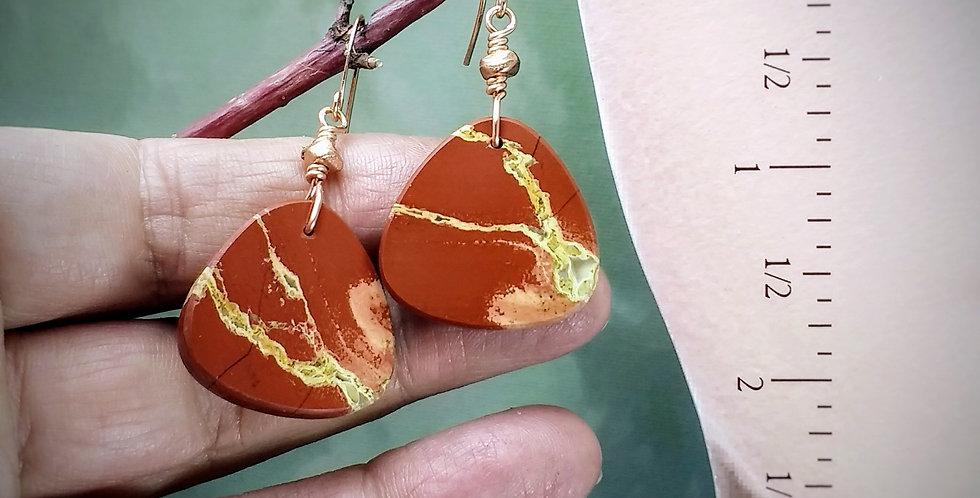 Red River Jasper .. hook earrings