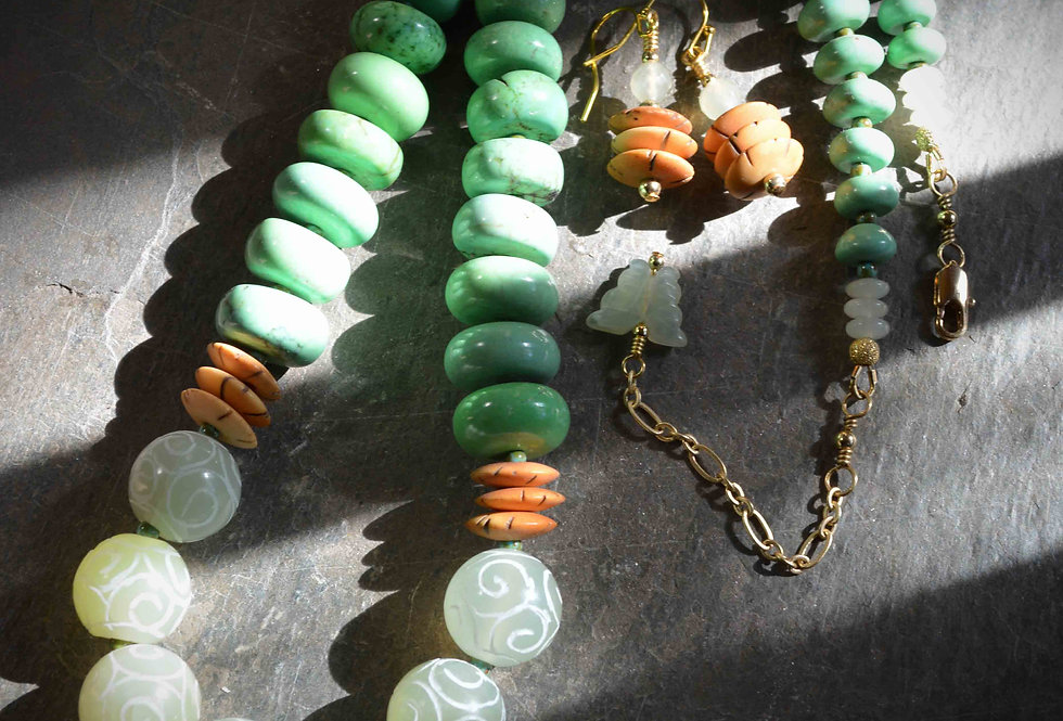 Necklace Earring Set .. Carved Jade Green Turquoise Stone