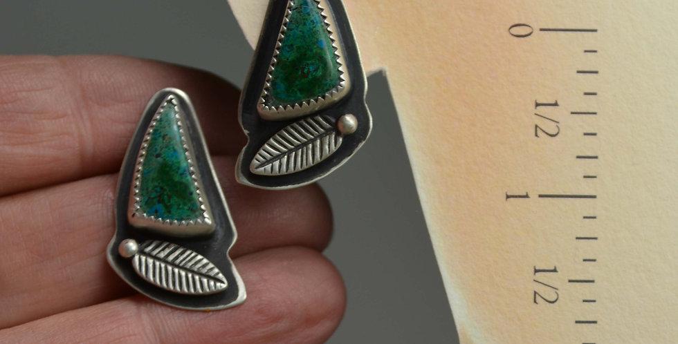 Old World Chrysocolla ..hook earrings