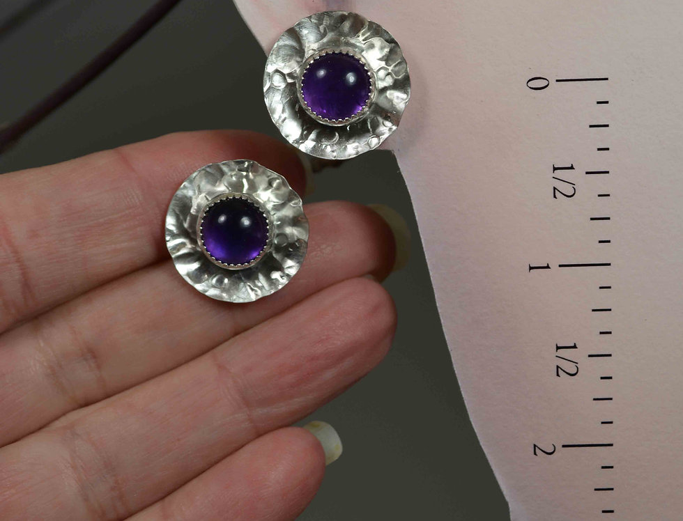 Amethyst Cabochons, Textured Sterling Silver discs