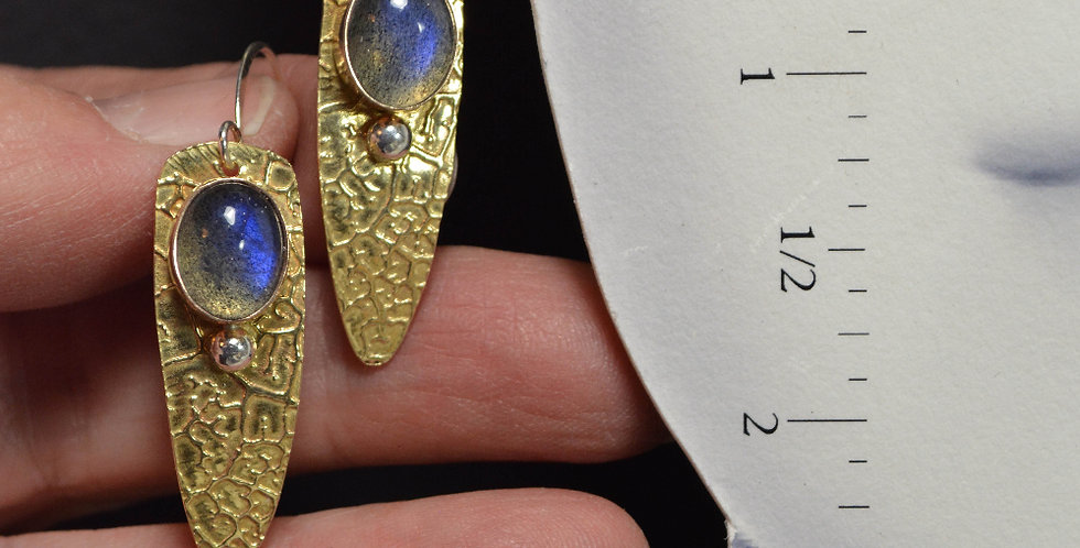 Etched Leaves Labradorite .. hook earrings