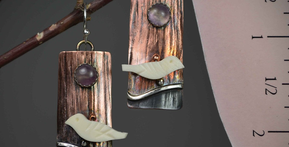 hook earrings .. Bird on a Wire