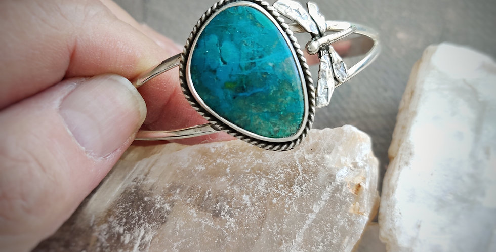 Peruvian Blue Opal Dragonfly cuff
