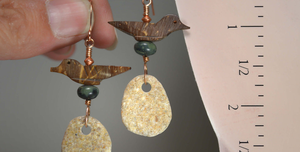 Hook Earrings .. Stone Babies & Carved Bird Fetish