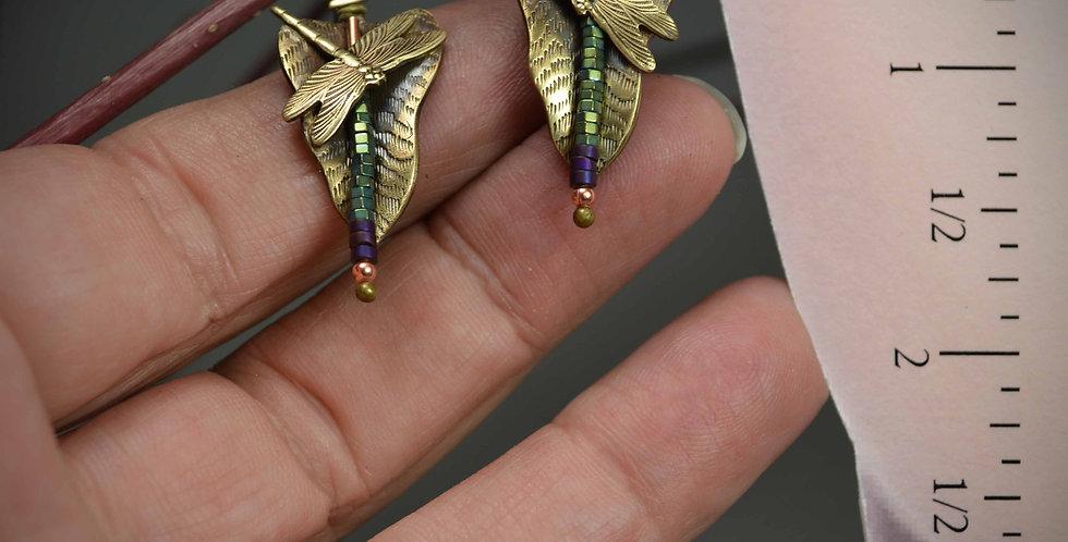 Hook Earrings .. Dragonfly Art Deco