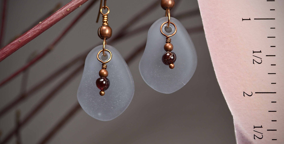 Hook Earrings .. Beach Glass Lavender