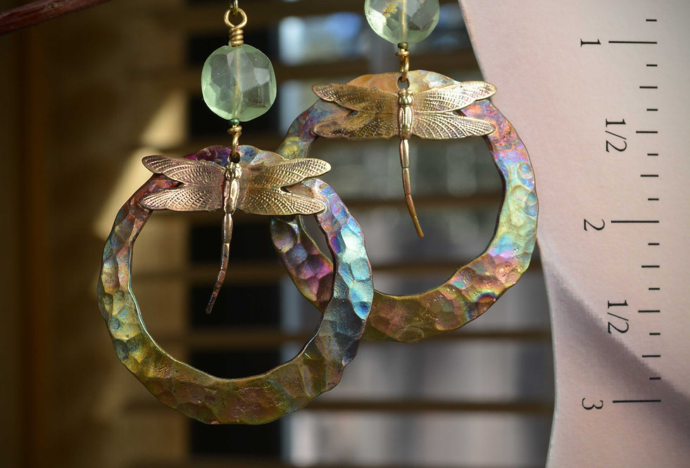 Hook Earrings .. Gypsy Dragonfly Hammered Copper Hoops