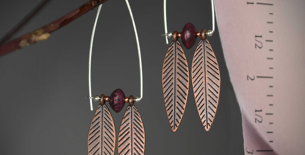 Hook Earrings .. Copper Two Feathers
