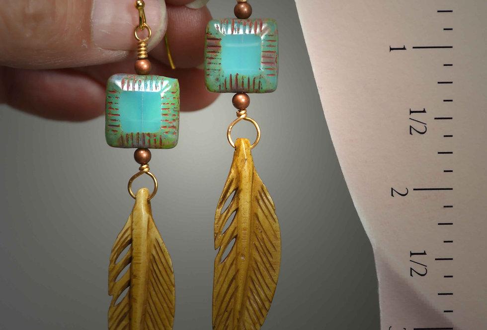 Hook Earrings .. Carved Bone Feathers