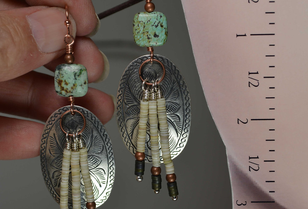 Hill Tribe Etched Oval Turquoise