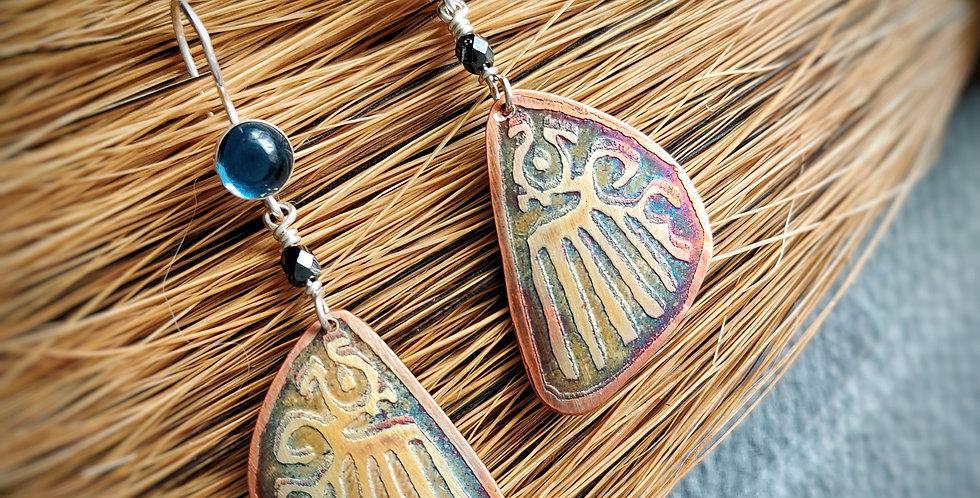 Relic Butterfly Wings .. hook earrings