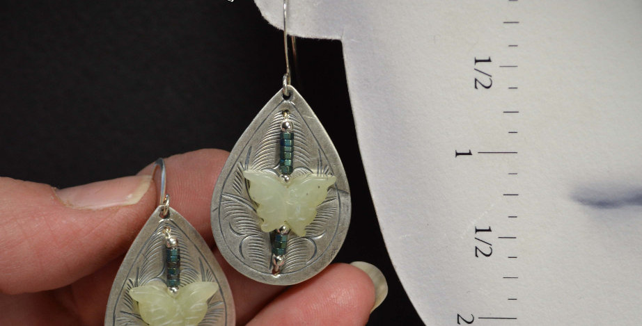 Carved Jade Butterflies .. hook earrings
