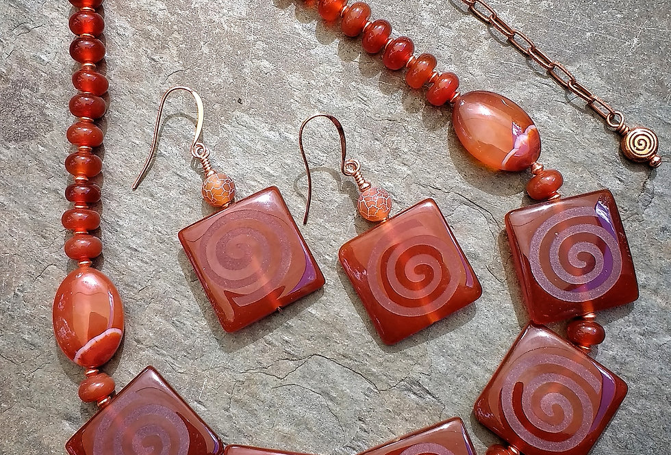 Spiral Carnelian .. necklace earrings set