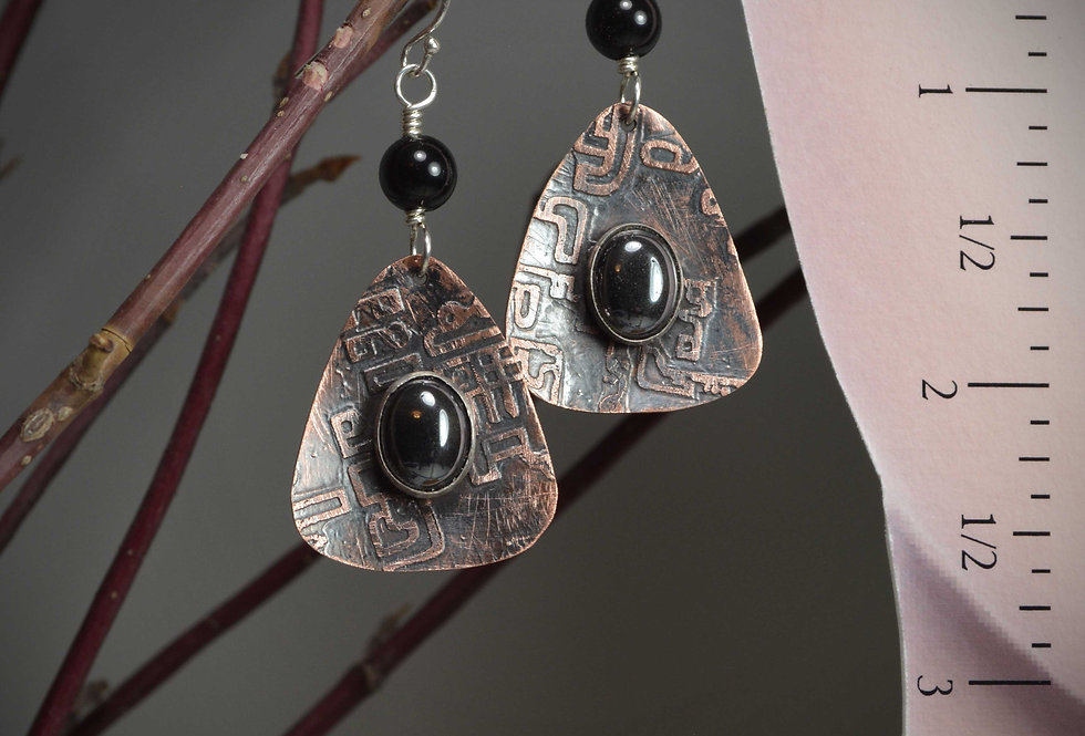 Hook earrings ~ Hematite etched copper