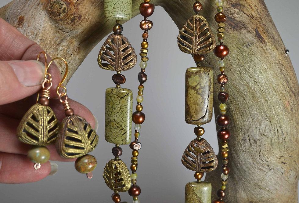 Necklace Set .. Ethiopian Cast Brass & Pearls