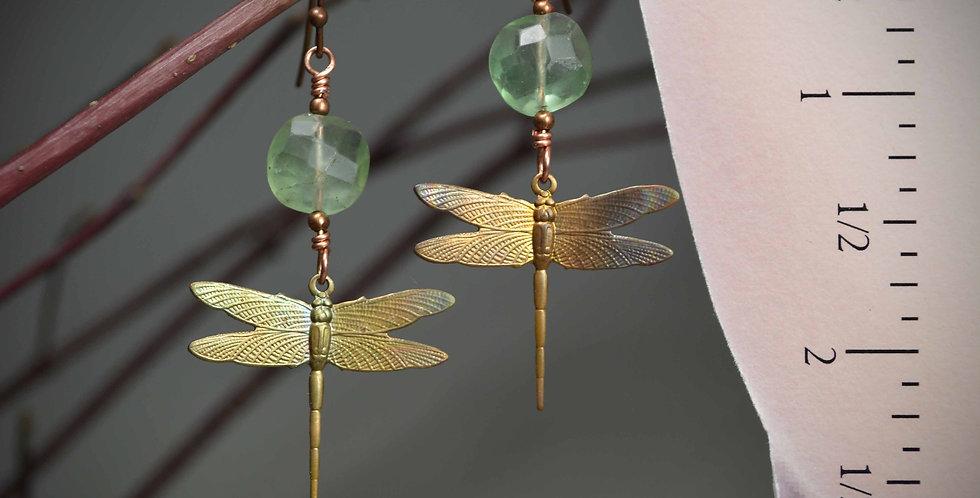 Hook Earrings .. Dragonfly Rustic Fluorite