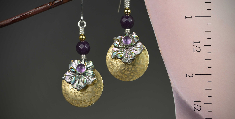 Hook Earrings .. Petite Abalone Dogwood Ami