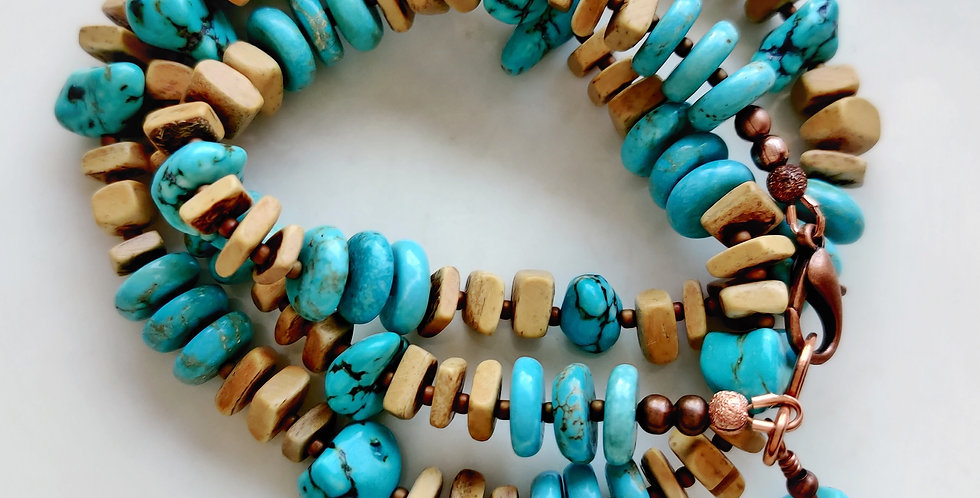 Blue Skies .. 3 Wrap Bracelet