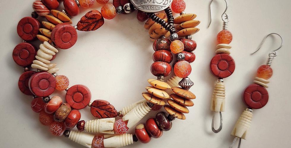 Buffalo Gal ..  Bracelet, Earrings Set
