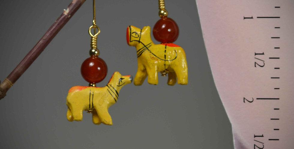 Hook Earrings .. Funky Yellow Dogs