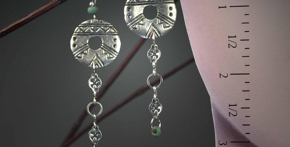 Hook Earrings .. Tribal Mykonos Coins