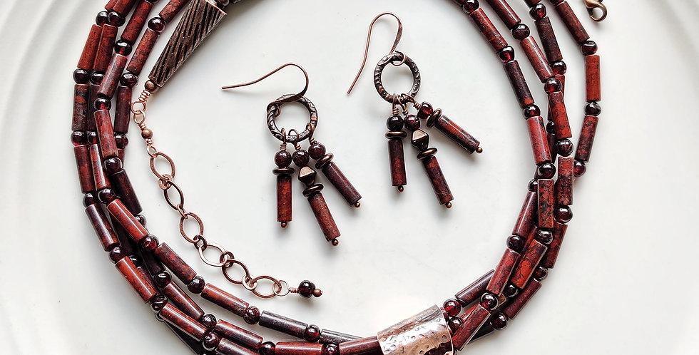 Mary Ellen jasper .. necklace earring set