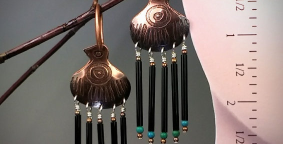 Ancient Peoples Series .. Mayan Thunderbird .. earrings