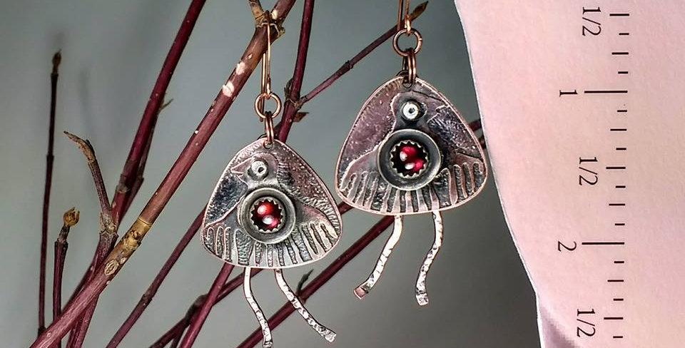 Hook Earrings .. Red Heart Running bird